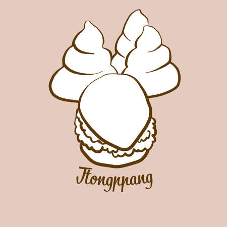 Hand-drawn Ttongppang bread illustration. Pancake, usually known in South Korea. Vector drawing series. Imagens - 155911050