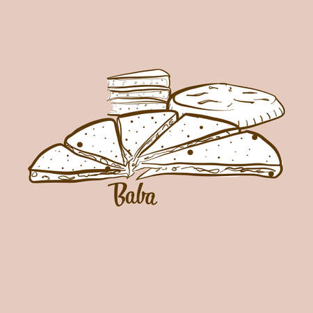 Hand-drawn Baba bread illustration. Round breads, usually known in China, Yunnan, naxi, people. Vector drawing series.