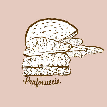 Hand-drawn Panfocaccia bread illustration. Leavened, usually known in Italy. Vector drawing series. Imagens - 155911054