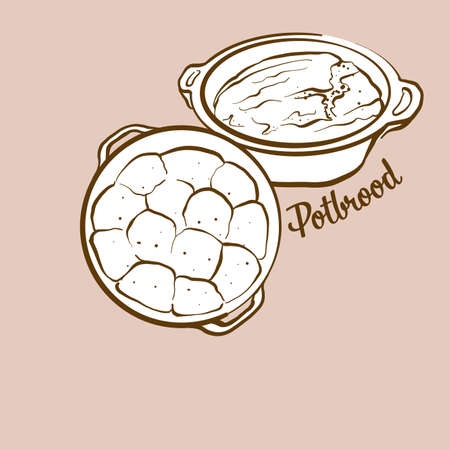 Hand-drawn Potbrood bread illustration. Leavened, usually known in South Africa. Vector drawing series.