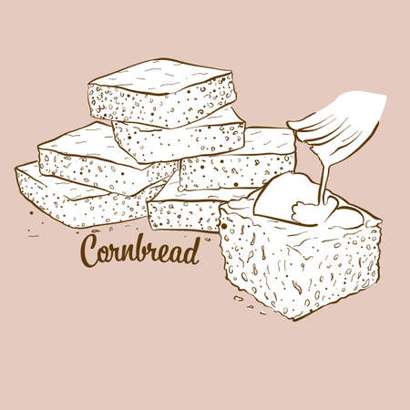 Hand-drawn cornbread bread illustration. Cornbread, usually known in America. Vector drawing series.