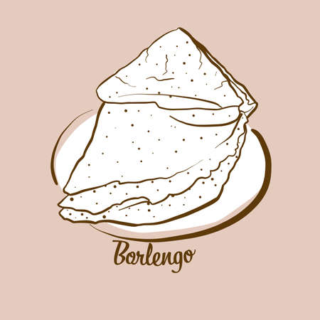 Hand-drawn Borlengo bread illustration. Pancake, usually known in Italy. Vector drawing series.