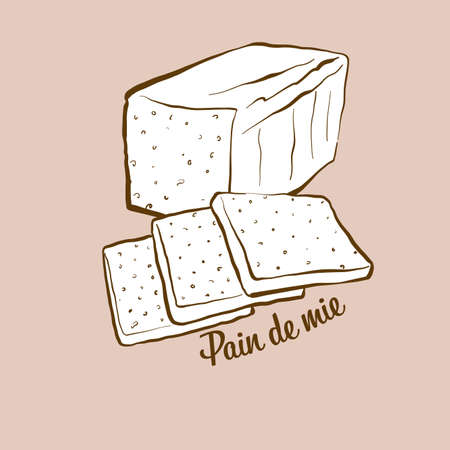 Hand-drawn Pain de mie bread illustration. White, usually known in Italy. Vector drawing series.