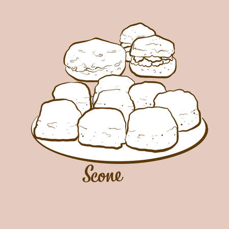 Hand-drawn scone bread illustration. Quick bread, usually known in United Kingdom. Vector drawing series. Imagens - 155911070