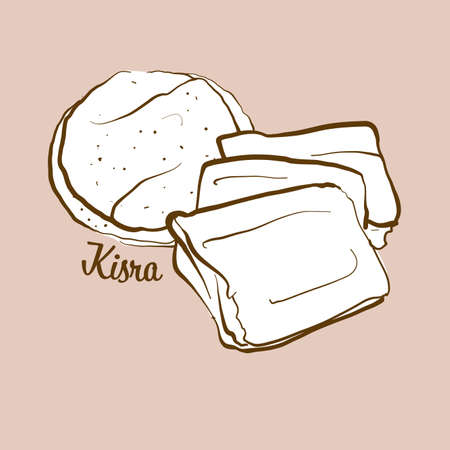 Hand-drawn Kisra bread illustration. Flatbread, usually known in Sudan, South Sudan. Vector drawing series.