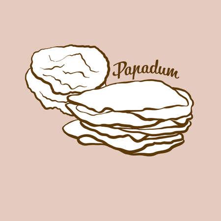 Hand-drawn papadum bread illustration. Flatbread, usually known in India. Vector drawing series. Ilustração