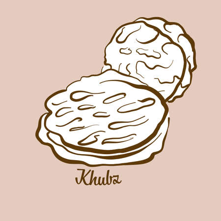 Hand-drawn Khubz bread illustration. Flatbread, usually known in Arab world. Vector drawing series.