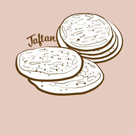 Hand-drawn taftan bread illustration. Leavened, usually known in Iran, Pakistan, India. Vector drawing series.