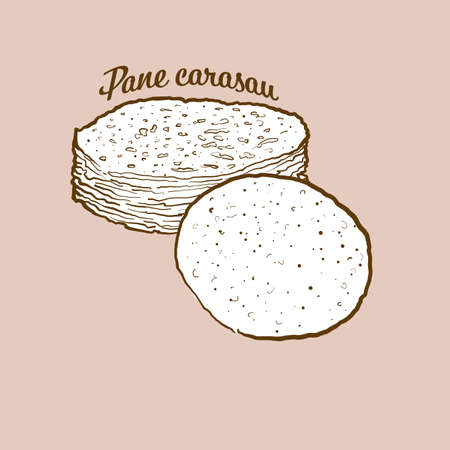 Hand-drawn Pane carasau bread illustration. Flatbread, usually known in Sardinia. Vector drawing series. Ilustração