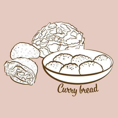 Hand-drawn curry bread bread illustration. Bun, usually known in Japan. Vector drawing series. Imagens - 155911088