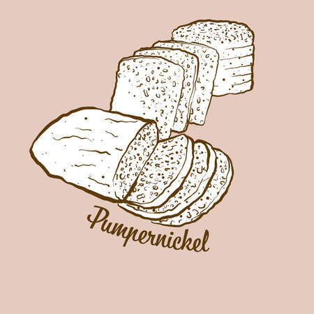 Hand-drawn pumpernickel bread illustration. Rye bread, usually known in Germany. Vector drawing series. Ilustrace