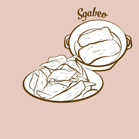 Hand-drawn Sgabeo bread illustration. Leavened, usually known in Italy, Lunigiana. Vector drawing series.