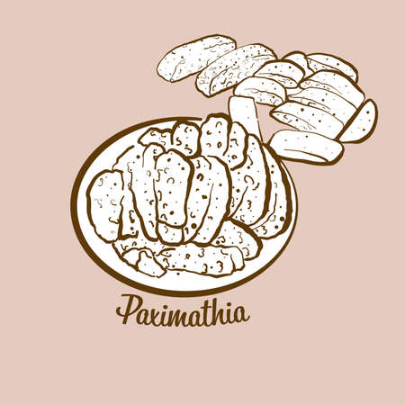 Hand-drawn Paximathia bread illustration. Dry bread, usually known in Greece. Vector drawing series.