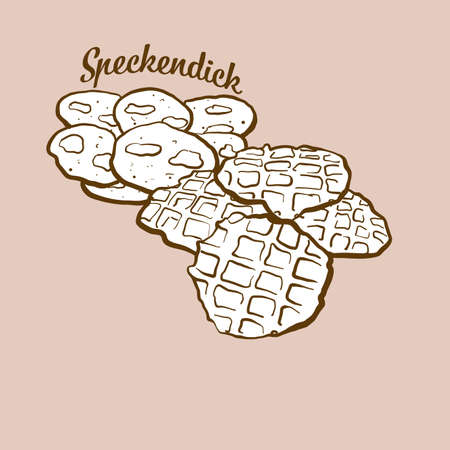 Hand-drawn thick bacon bread illustration. Pancake, usually known in Germany, East Frisia. Vector drawing series.