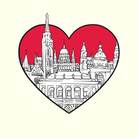 I love Budapest. Red heart and famous buildings, Hungary Composition. Hand-drawn black and white vector illustration. Grouped and movable objects.