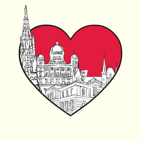 I love Bern. Red heart and famous buildings, Switzerland Composition. Hand-drawn black and white vector illustration. Grouped and movable objects.