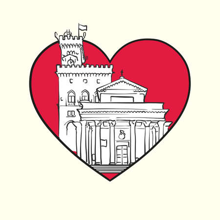 I love City of San Marino. Red heart and famous buildings, San Marino Composition. Hand-drawn black and white vector illustration. Grouped and movable objects.