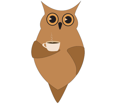 cute brown owl with a cup of coffee Vector
