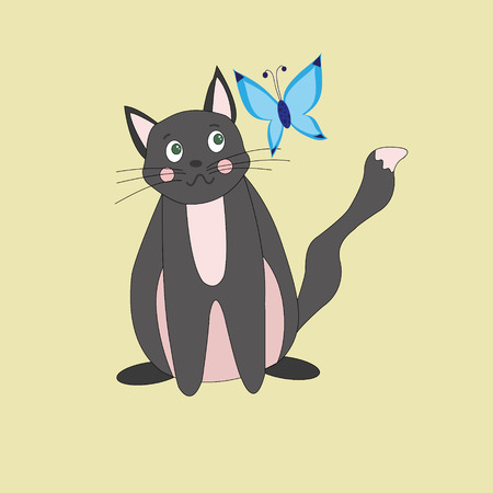 gray cat: gray cat with green eyes and blue butterfly