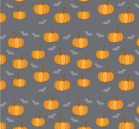halloween background: bright cartoon background with pumpkins and bats for Halloween