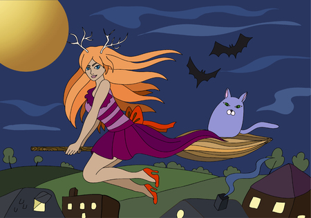 broomstick: red-haired witch flying on a broomstick with a cat vector background
