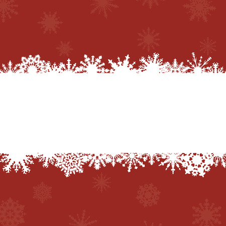 bright red background with frame for congratulations and snowflakes Иллюстрация