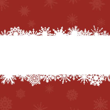 schneeflocke: leuchtend roten Hintergrund mit Rahmen f�r Gl�ckw�nsche und Schneeflocken Illustration