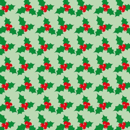 be green: Vector Christmas seamless pattern with berries on a green background, which can be used for gift wrapping