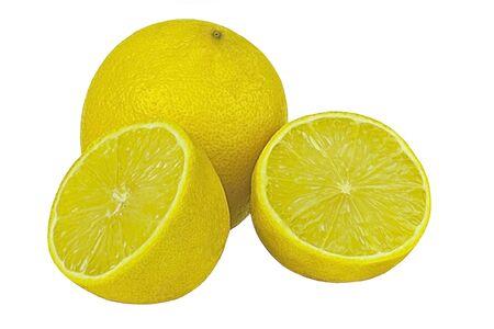 comiendo frutas: madura amarillo lim�n brillante sobre un fondo blanco Foto de archivo