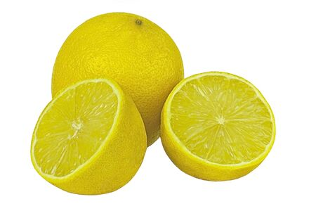 fruit and vegetable: ripe bright yellow lemon on a white background