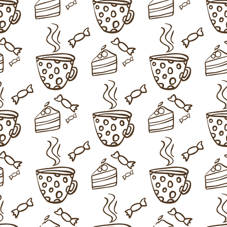 afternoon fancy cake: Seamless vector pattern with cups of tea and cakes
