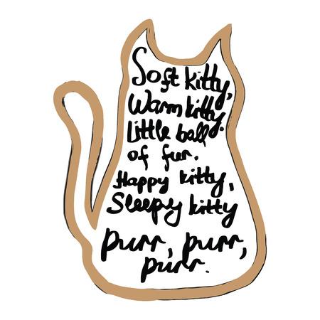 poem: childrens poem about a kitten, inscribed in the shape of a cat