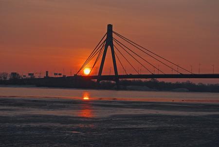 industry moody: bridge in Kiev, early morning, spring, soft focus