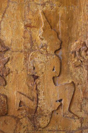 buddhist art on pillar of temple, Ban Koo, Yangsrisurat, Mahasarakam photo