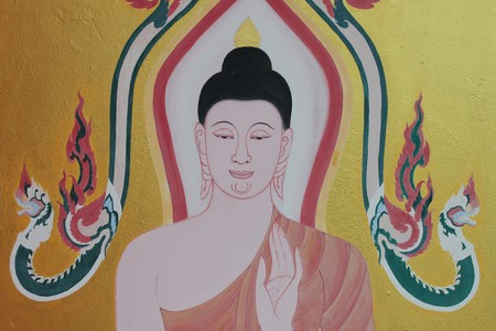 buddhist art painting on wall of temple photo