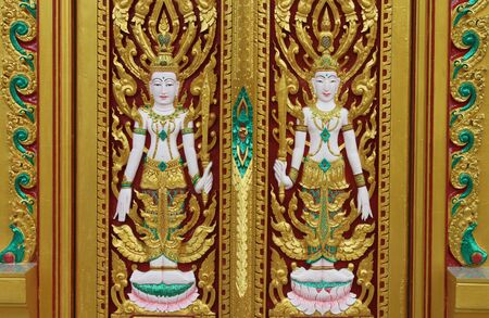 Thai art carving and painting photo