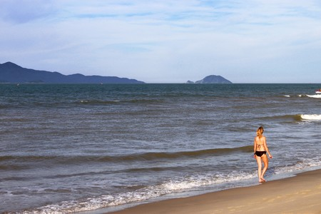 walking on Hoi An Beach, South China Sea, Central Viet Nam Stock Photo - 7755461
