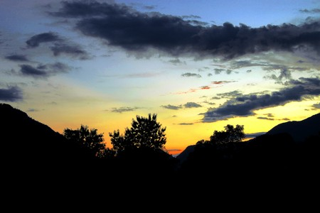 Evening view of sky and mountain  at Wang Weang, Lao P.D.R. photo
