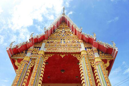 An ant eye view of buddhist temple at Wat Kok Lam, Borabue, Mahasarakam photo