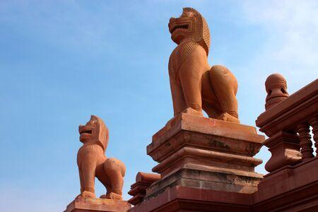 Lion Statue At Khao Noi Pagoda. Buriram, Thailand. photo