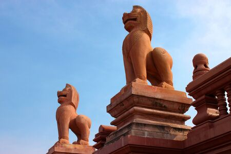 Lion Statue At Khao Noi Pagoda. Buriram, Thailand. photo