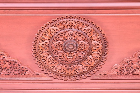 Wood Carving At Khao Noi Pagoda, Buriram, Thailand.