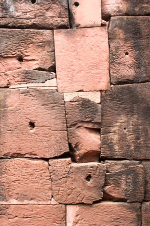 Bricks wall background of Ancient architecture at Prasat Phimai stone sanctuary, Korat  photo