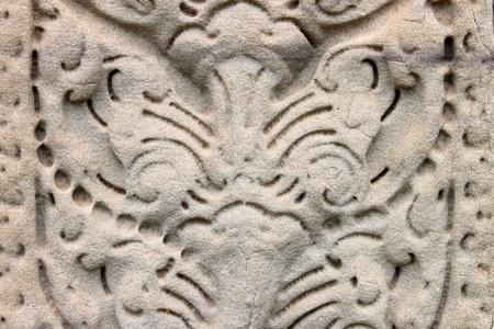 Texture on pillar at Prasat Phimai stone sanctuary, Korat  photo