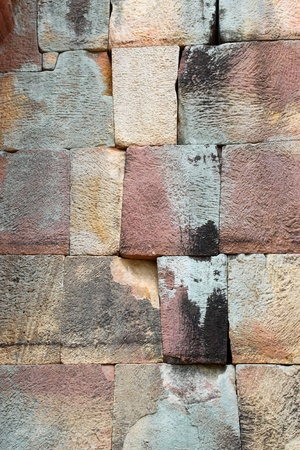 Bricks wall of Prasat Muang Tam Stone Sanctuary, Buriram, Thailand photo