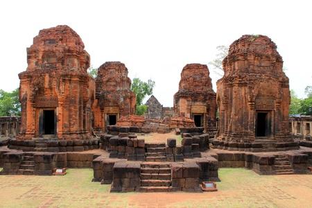 Groupe des principaux tours de Prasat Muang Tam Stone sanctuaire, Buriram, Tha�lande Banque d'images
