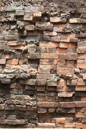 Bricks wall background of Prasat Sikhoraphum Sanctuary, Surin, Thailand photo