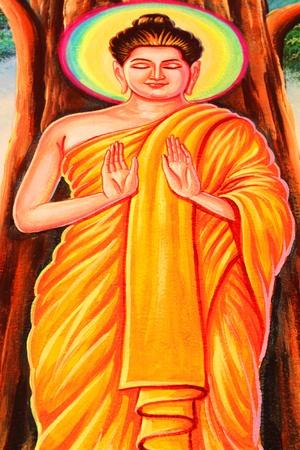 Mural of budda in Nadee temple, Borabue, Mahasarakam photo
