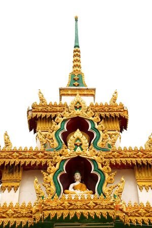 Traditional Thai style stucco texture on white background photo