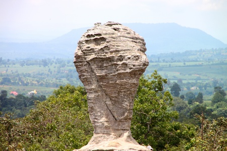 The ancient stone in FIFA World Cup Champion shape, Chaiyaphum, Thailand, aged 175 million years photo